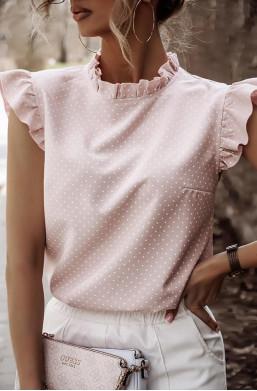 Bluzka Koszula w groszki Xana,koszula ze stójką,subtelna koszula,koszula z guzikami z tyłu,koszula na krótki rękaw,modna koszula