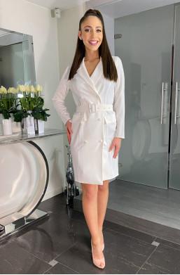 Sukienka żakietowa Żaneta,sukienka białą,elegancka sukienka,sukienka na kolację,sukienka na wyjście,modna sukienka