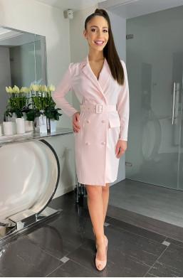 Sukienka żakietowa Żaneta ,modna sukienka,sukienka morelowa,elegancka sukienka,długa sukienka,hit mody 2021,sukienka z wiązaniem