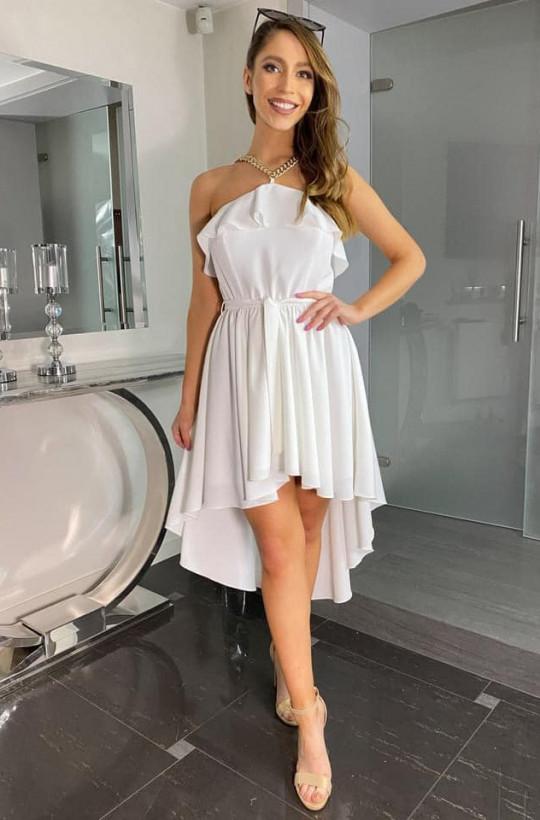 Sukienka ROSALINA brzoskwinia Bella Dame,sukienka z przedłużanym tyłem,elegancka sukienka,sukienka bez ramiączek
