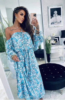 "Sukienka maxi ""Muszle"" niebieska Lola Bianka,długa sukienka,zwiewna sukienka,elegancka sukienka,modna sukienka"