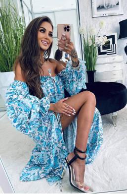 kolorowa sukienka,sukienka z wycięciem na nodze,sukienka z długim rękawem,jakościowa sukienka