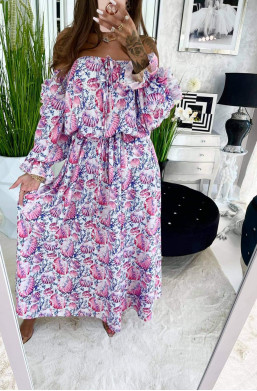 """Sukienka maxi """"Muszle"""" różowa Lola Bianka,długa sukienka,zwiewna sukienka,luźna sukienka,sukienka z wzorem,detal,ciechanów"""