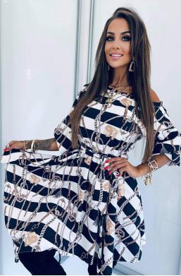"""Sukienka """"łańcuchy LB"""" biel Lola Bianka,oryginalna sukienka,sukienka najlepszej jakości,krótka sukienka,sukienka z wzorem"""