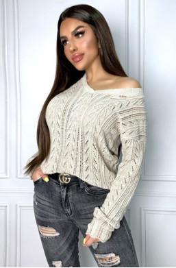 sweterek szary,ażurowy,oryginalny,krótki,na jedno ramię,luźny,elegancki,prązkowany,na jesień,na zimę