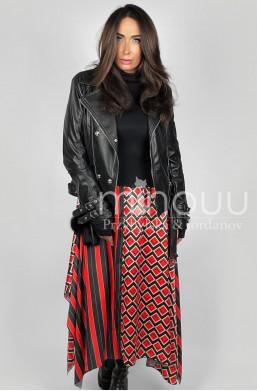 Sukienka asymetryczna łódka  Minouu dress Anais Red & Black,długa sukienka,oryginalan sukienka,modna sukienka,hit mody