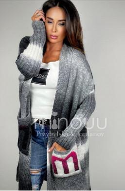 kardigan ombre,szary,sweter długi,elegancki sweter,oryginalny kardigan,na wiele okazji,najlepsza jakość