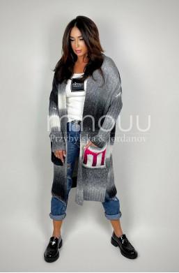 kardigan ombre,szary,sweter długi,elegancki sweter,oryginalny kardigan,na wiele okazji,najlepsza jakość,warszawa