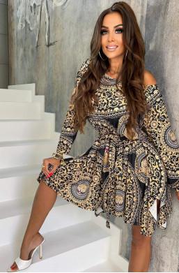 sukienka tygrys,sukienka z wzorem,elegancka sukienka,sukienka na długi rękaw,sukienka na wiele okazji,hit mody 2021