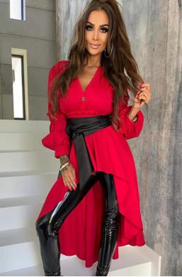 koszula czerwona z trenem,oryginalna koszula,długa koszula,elegancka koszula,koszula lola bianka,koszula z paskiem,hit mody 2021