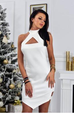 Sukienka KLASYKA O La Voga biały,sukienka z odobnym dekoldem,obcisła sukienka,modna sukienka