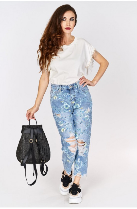 Spodnie jeansy kwiaty JEAN LOUIS FRANCOISE,luźne jeansy,spodnie boyfriend,spodnie jeansowe,modne spodnie