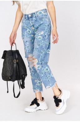 Spodnie jeansy kwiaty JEAN LOUIS FRANCOISE,jeansowe spodnie,spodnie w kwiaty,długie spodnie