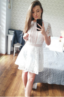 Sukienka biała D&Z fashion z koronki