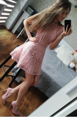 Sukienka różowa D&Z fashion z koronki krótka na urodziny,elegancka sukienka,zwiewna sukienka