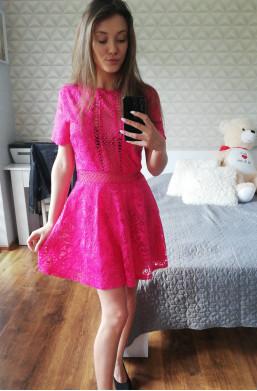 Sukienka D&Z fashion z koronki różowa na imprezę,krótka sukienka,sukienka na krótki rękaw