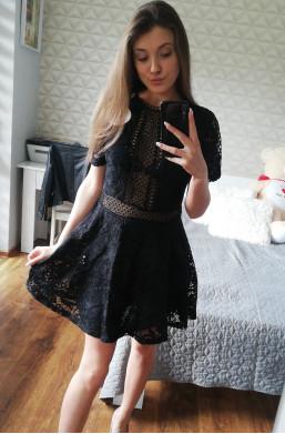 Sukienka D&Z fashion z koronki czarny,krótka sukienka,ozdobna sukienka,modna sukienka
