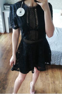 Sukienka D&Z fashion z koronki czarny, sukienka na impreze,ozdobna sukienka,sukienka na wyjście,krótki rękaw